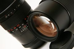 Two old telephoto lens (detail) Stock Photography