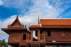 Two old thai house stock image