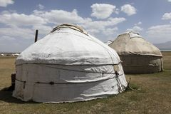 Two old traditional yurts at the Son Kul lake. In Kyrgyzstan stock photo