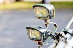 Two old vintage bicycle lights Royalty Free Stock Photos