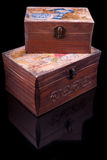 Two old vintage chests patterns on black Royalty Free Stock Image