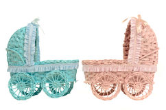 Two old vintage strollers - for boy and girl Royalty Free Stock Images