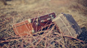 Two old vintage suitcases Royalty Free Stock Image