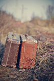 Two old vintage suitcases stand Stock Image