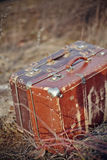 Two old vintage suitcases stand Royalty Free Stock Photography