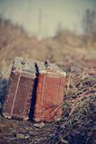 Two old vintage suitcases stand Stock Photography