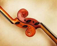 Two old violin scrolls Stock Images