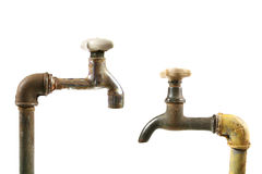 Two old water taps Royalty Free Stock Photo