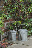 Two old watering cans in vintage style image of English contry g. Old watering cans in vintage style image of English contry garden Royalty Free Stock Images