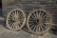 Two old wheels in Xian Royalty Free Stock Image