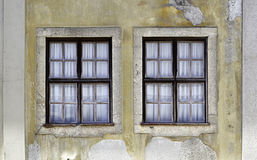Two old windows. Detail of an Italian windows, historic building Royalty Free Stock Images