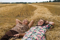 Two old women on field Royalty Free Stock Image