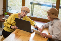 Two old women and laptop. Royalty Free Stock Photos