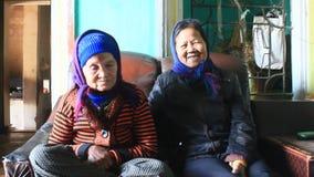 Two old women sing folk songs stock footage