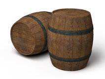 Two old wooden barrels Stock Photography