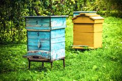 Old wooden honey bee houses. Two old wooden bee houses to collect honey royalty free stock photography