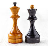Two old wooden chess pieces Royalty Free Stock Image