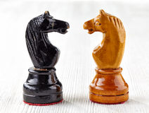 Two old wooden chess pieces Royalty Free Stock Photo