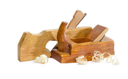 Two old wooden hand planes different purposes Royalty Free Stock Photo
