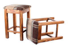 Two old wooden stool. Color photo of an old wooden stool Royalty Free Stock Photography