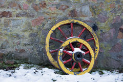 Two old wooden wagon wheel Royalty Free Stock Image