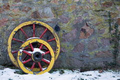 Two old wooden wagon wheel Stock Photography