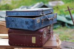 Two old worn suitcases Stock Photo