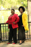 Two older black women outdoor full length Stock Photography
