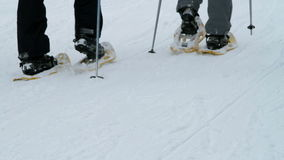 Two older couples enjoying skiing in idyllic winter. Visiting old church stock video