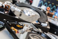 Two older HDDs in a test laboratory ready for data recovery or r Royalty Free Stock Image