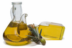 Two olive oil bottles. Royalty Free Stock Images