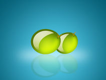 Two olives. Over  blue background. food illustration Stock Photo