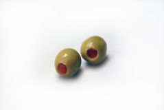 Two olives. Green olives isolated on a white background Royalty Free Stock Photography