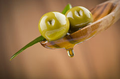 Two olives and leaves Royalty Free Stock Photography
