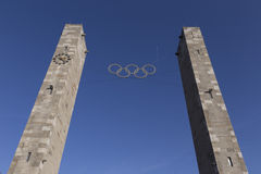 Two Olympic columns Royalty Free Stock Image