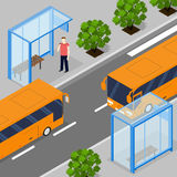 Two oncoming city bus. Flat isometric. Two bus stops. Royalty Free Stock Photo