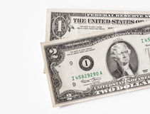Two and one dollar bills - RAW format Royalty Free Stock Photography