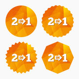 Two in one sign icon. 2 in 1 symbol with arrow. Royalty Free Stock Photos
