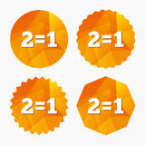 Two for one sign icon. Take two pay for one. Royalty Free Stock Images