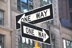 Two one-way signs Royalty Free Stock Photos