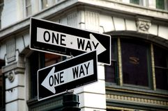 Two One Way Signs Royalty Free Stock Images