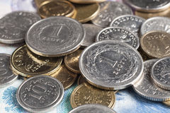 Two one zloty coins Stock Photo