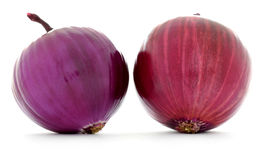 Two onions with red and purple clean smooth skins isolated Stock Photos