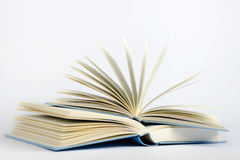 Two open blue books on a light blue background Stock Photos