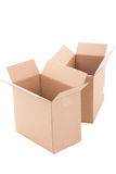 Two open brown corrugated cardboard boxes over white Royalty Free Stock Image