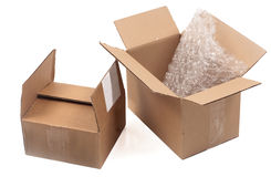 Two open cardboard boxes on white background Royalty Free Stock Images