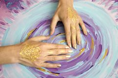 Two open empty mehndi hands. Close-up. Stock Images