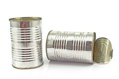Two open empty tin can Stock Photo