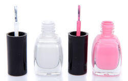 Two open nail polish bottles Stock Photography
