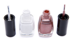 Two open nail polish bottles Royalty Free Stock Photo